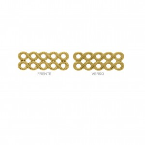 Base para Brinco Retangular Vazada Ouro 14mm