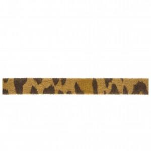Tira Chata de Couro Sintético Animal Print Onça Caramelo com Marron 10mm