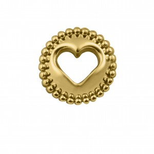 Berloque Redondo Coração Vazado Ouro 12mm