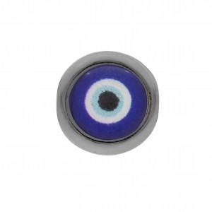Berloque Redondo Olho Grego Grafite 11mm
