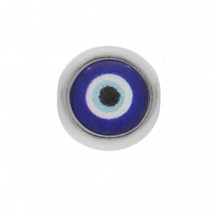 Berloque Redondo Olho Grego Níquel 11mm