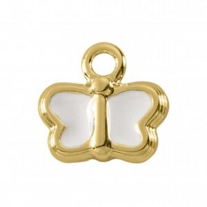 Pingente Borboleta Ouro com Resina Branca 14mm