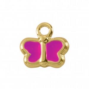 Pingente Borboleta Ouro com Resina Pink 14mm