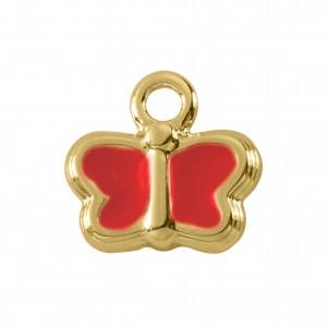 Pingente Borboleta Ouro com Resina Vermelha 14mm