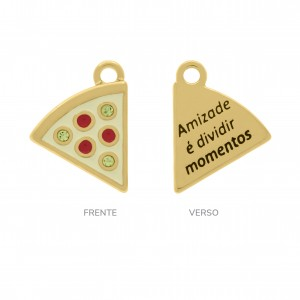 Pingente Ouro Pizza 14mm