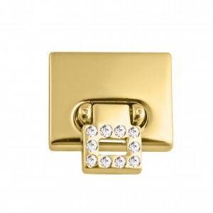 Fecho para Bolsa Ouro Quadrado com Strass 28mm