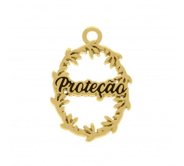 Pingente Proteção Ouro 26mm