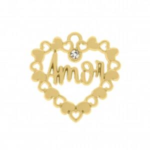 Pingente Coração Amor Ouro 27mm