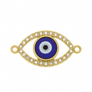 Pingente Olho Grego Ouro com Strass 20mm