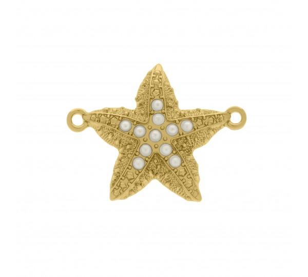 Pingente Ouro Estrela do Mar com Pérolas 29mm