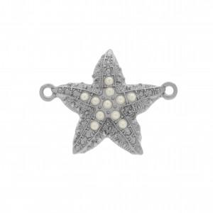 Pingente Níquel Estrela do Mar com Pérolas 29mm