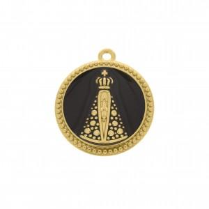 Pingente Redondo Ouro Nossa Senhora Aparecida 34mm