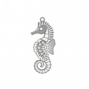 Pingente Níquel Cavalo Marinho com Pérolas 53mm