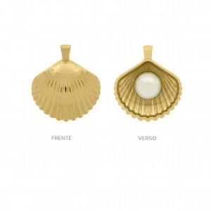 Pingente Ouro Concha Texturizada com Pérola 43mm