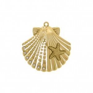 Pingente Ouro Concha do Mar 45mm