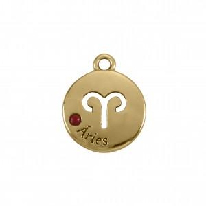 Pingente Redondo Ouro Signo Áries 15,5mm
