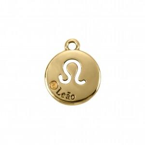 Pingente Redondo Ouro Signo Leão 15,5mm