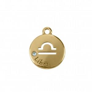 Pingente Redondo Ouro Signo Libras 15,5mm