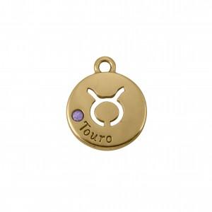 Pingente Redondo Ouro Signo Touro 15,5mm