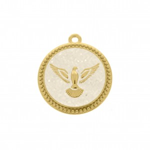 Pingente Redondo Ouro Pomba da Paz 34mm