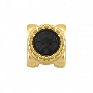 Passador Ouro com Cristal Preto 9mm
