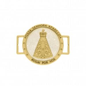 Passador Ouro Nossa Senhora Aparecida com Resina Pérola 38mm