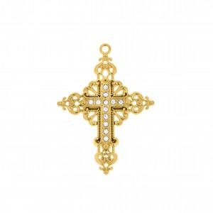 Pingente Ouro Cruz Arabescada 62mm