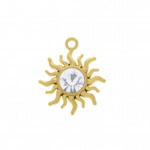Pingente Ouro Sol com Cristal 27mm