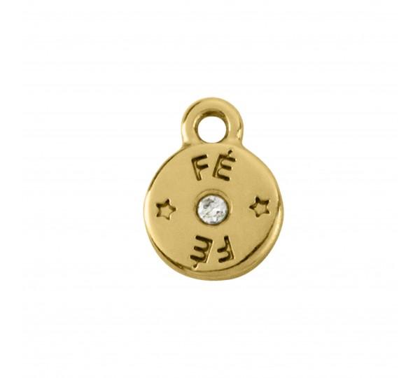 Pingente Redondo Ouro Fé 8,9mm