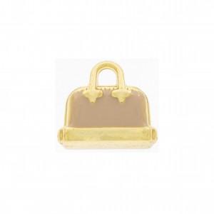 Pingente Ouro Bolsa com Resina Nude 17mm
