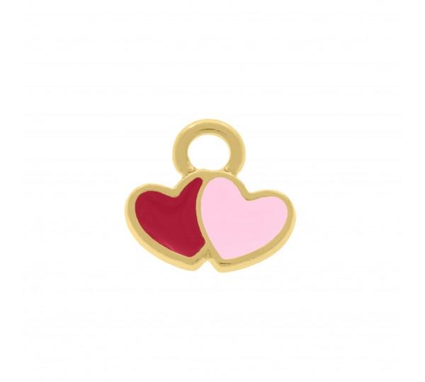 Pingente Ouro Corações 9mm