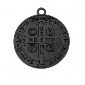 Pingente Medalha São Bento Preto Fosco 29mm