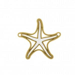 Pingente Ouro Estrela do Mar Com Resina Branca 45mm
