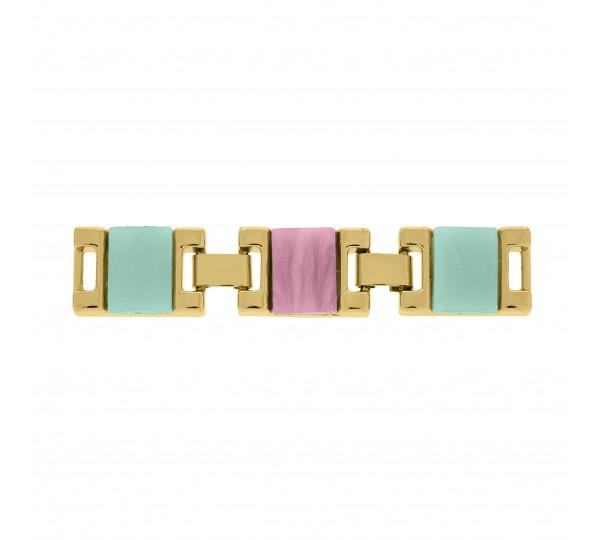 Bridão Ouro Acrílico Verde Água e Rosa Claro 70mm