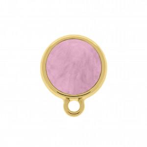 Base para Brinco Redonda Ouro Acrílico Rosa Claro 16mm