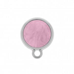 Base para Brinco Redonda Níquel Acrílico Rosa Claro 16mm