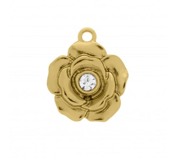 """Pingente Flor Ouro com Cristal """" Apaixone-se por você mesma"""" 23mm"""