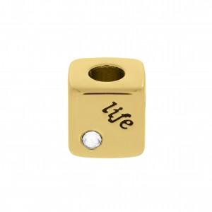 Berloque Quadrado Life Ouro 10mm