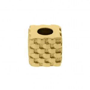 Berloque Quadrado Texturado Ouro 10mm