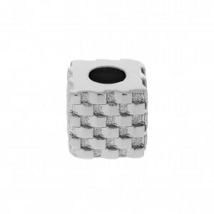 Berloque Quadrado Texturado Níquel 10mm