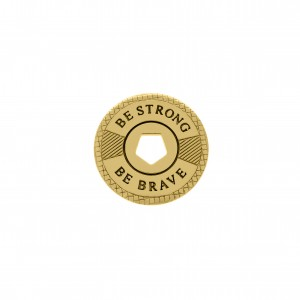 Pingente Redondo Ouro Be Strong Be Brave 21mm