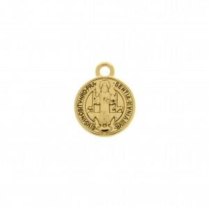 Pingente Medalha Ouro São Bento 18mm