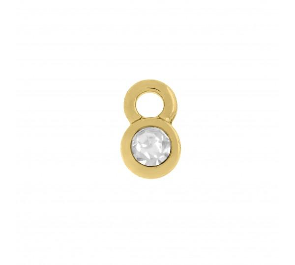 Pingente Ouro Redondo Cristal 8mm