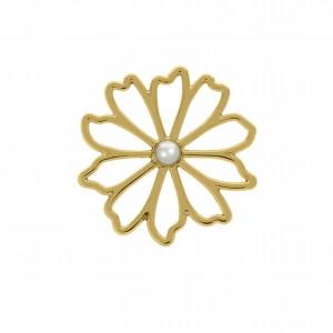 Pingente Flor Ouro Vazado com Pérola 40mm
