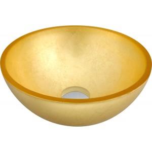 Cuba de sobrepor de vidro Dourado 30cm
