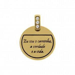 Pingente Redondo Ouro Caminho 28mm