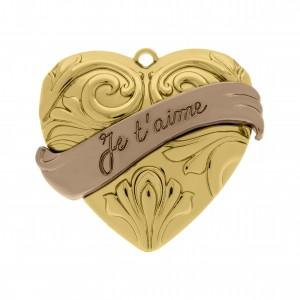 Pingente Coração Je t'aime Ouro com Aplicação Rosé 38mm