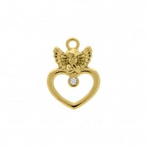 Pingente Coração Anjo Ouro com Strass 24mm