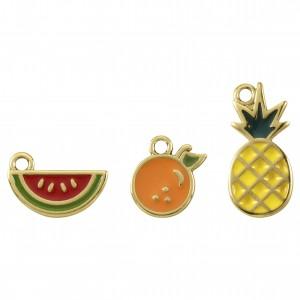 Conjunto de Pingentes Frutas Ouro com Resina