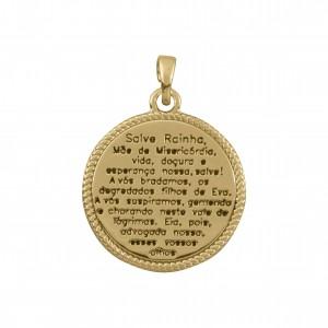Pingente Medalha Salve Rainha Ouro 26mm